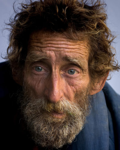Photo of elderly homeless man