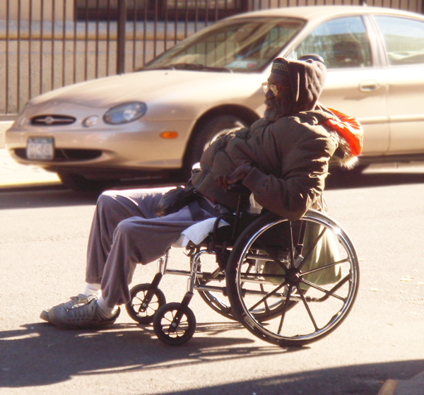 Photo of homeless man in wheelchair